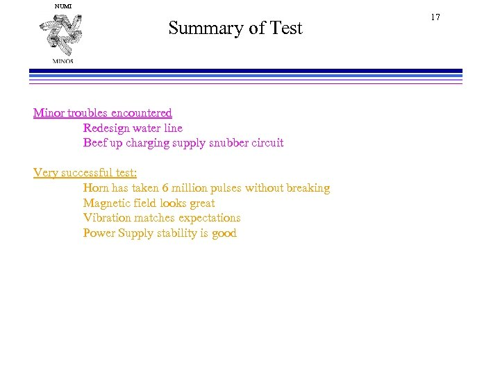 NUMI Summary of Test Minor troubles encountered Redesign water line Beef up charging supply