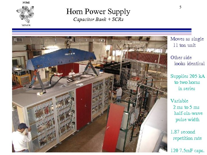 NUMI Horn Power Supply 5 Capacitor Bank + SCRs Moves as single 11 ton