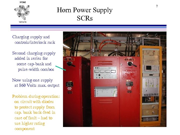 NUMI Horn Power Supply SCRs Charging supply and controls/interlock rack Second charging supply added
