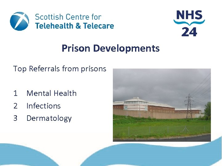 Prison Developments Top Referrals from prisons 1 Mental Health 2 Infections 3 Dermatology