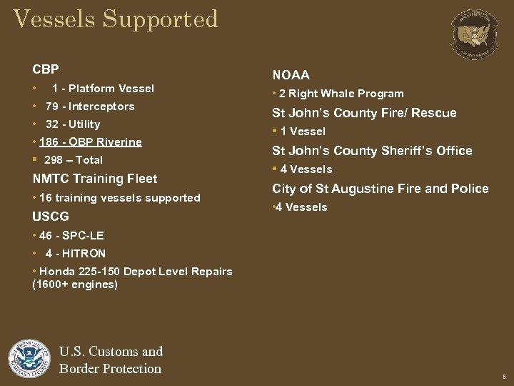 Vessels Supported CBP • 1 - Platform Vessel • 79 - Interceptors • 32
