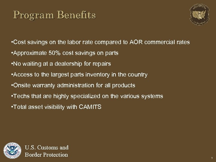 Program Benefits • Cost savings on the labor rate compared to AOR commercial rates