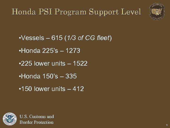 Honda PSI Program Support Level • Vessels – 615 (1/3 of CG fleet) •