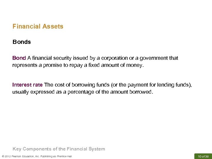 Financial Assets Bond A financial security issued by a corporation or a government that