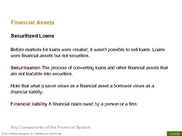 Financial Assets Securitized Loans Before markets for loans were created, it wasn't possible to
