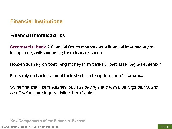 Financial Institutions Financial Intermediaries Commercial bank A financial firm that serves as a financial