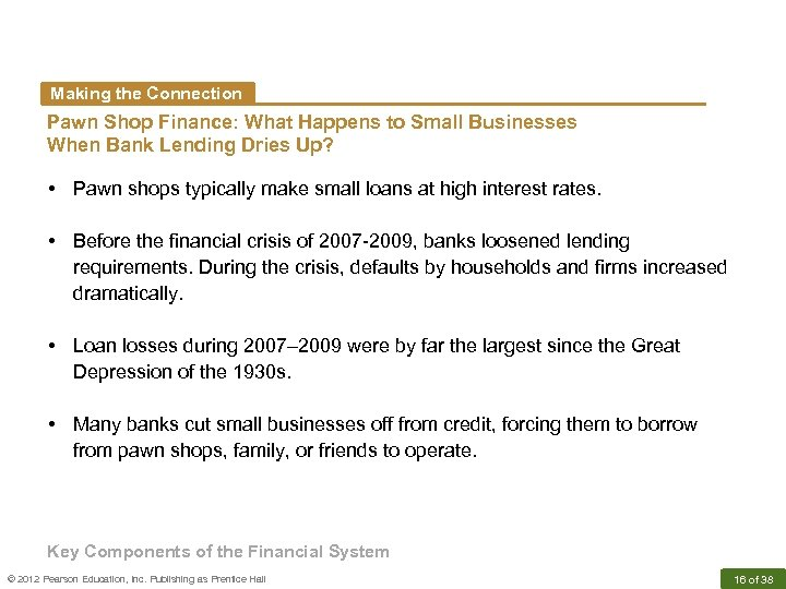 Making the Connection Pawn Shop Finance: What Happens to Small Businesses When Bank Lending