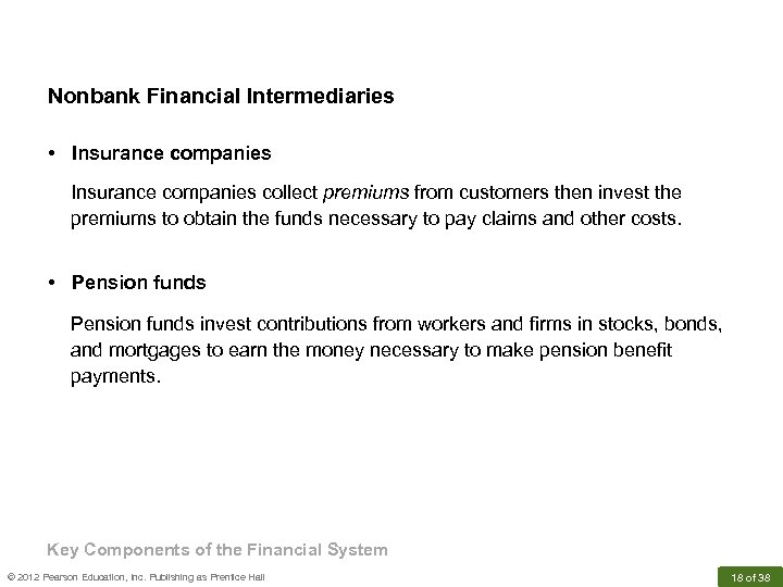 Nonbank Financial Intermediaries • Insurance companies collect premiums from customers then invest the premiums