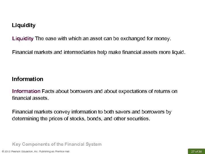 Liquidity The ease with which an asset can be exchanged for money. Financial markets