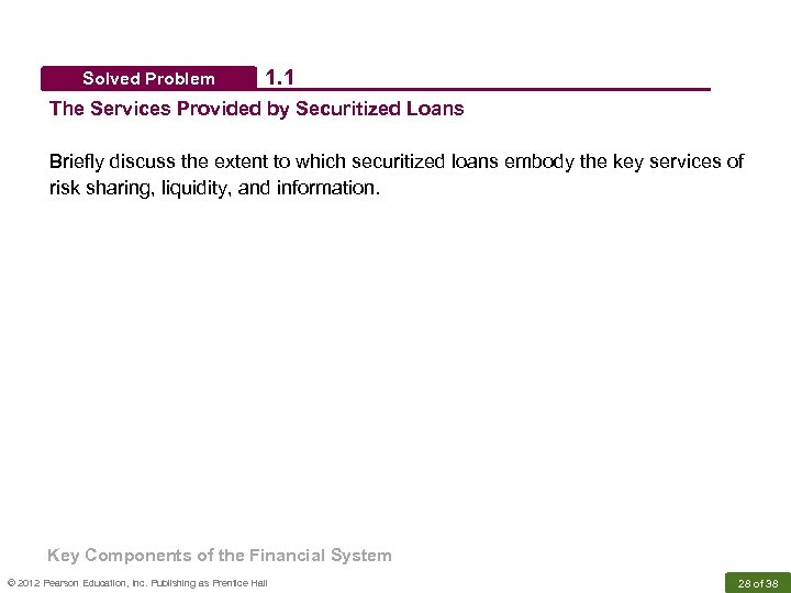 Solved Problem 1. 1 The Services Provided by Securitized Loans Briefly discuss the extent