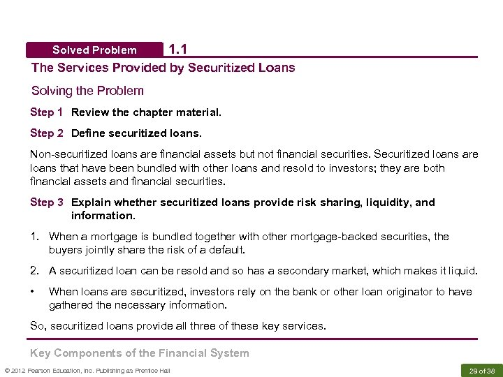 Solved Problem 1. 1 The Services Provided by Securitized Loans Solving the Problem Step