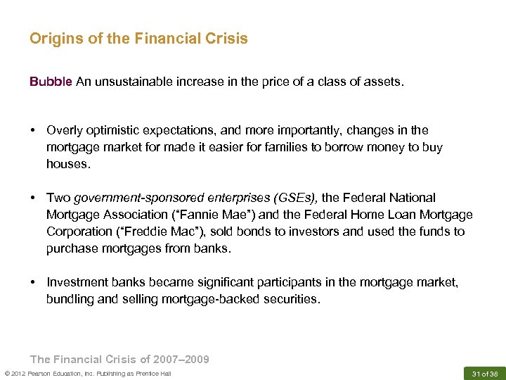 Origins of the Financial Crisis Bubble An unsustainable increase in the price of a