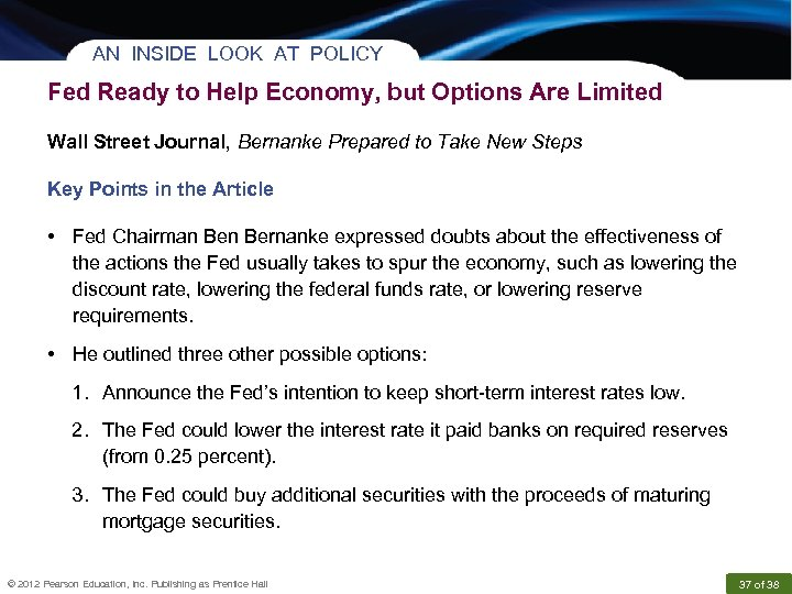 AN INSIDE LOOK AT POLICY Fed Ready to Help Economy, but Options Are Limited