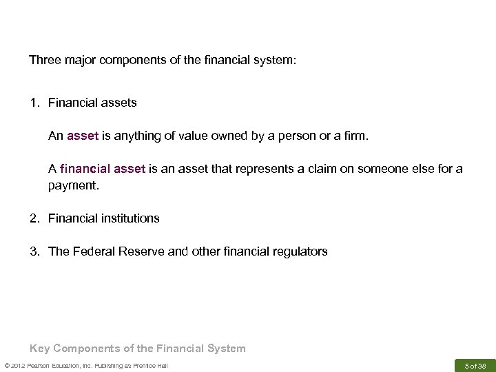 Three major components of the financial system: 1. Financial assets An asset is anything