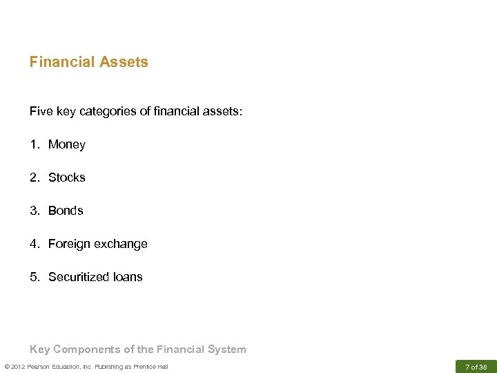 Financial Assets Five key categories of financial assets: 1. Money 2. Stocks 3. Bonds