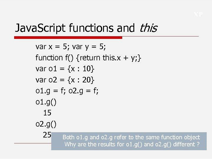 XP Java. Script functions and this var x = 5; var y = 5;