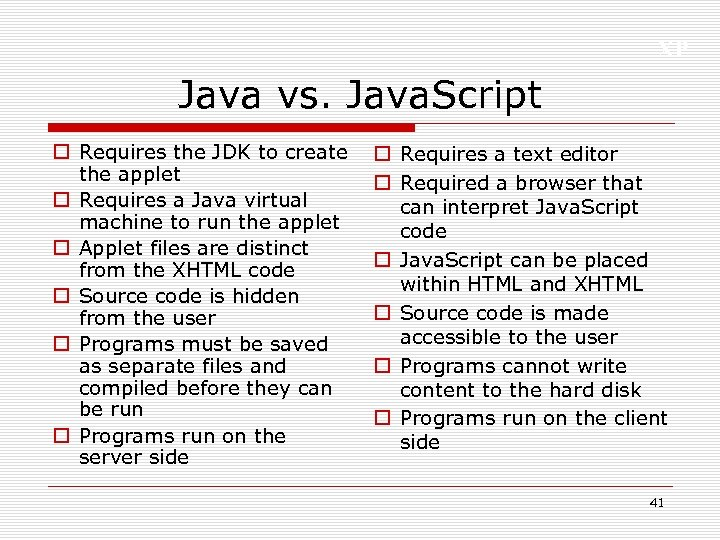 XP Java vs. Java. Script o Requires the JDK to create the applet o