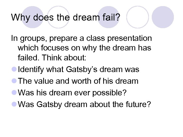 Why does the dream fail? In groups, prepare a class presentation which focuses on