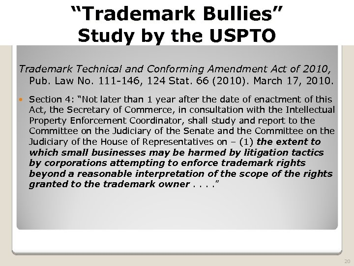 "2010 TRADEMARK LAW SEMINAR THE FUTURE OF BRAND PROTECTION ""Trademark Bullies"" Study by the"