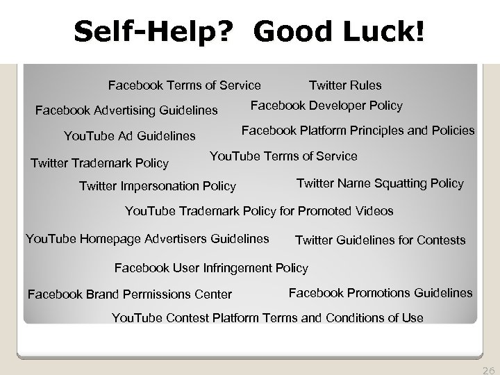 2010 TRADEMARK LAW SEMINAR THE FUTURE OF BRAND PROTECTION Self-Help? Good Luck! Twitter Rules