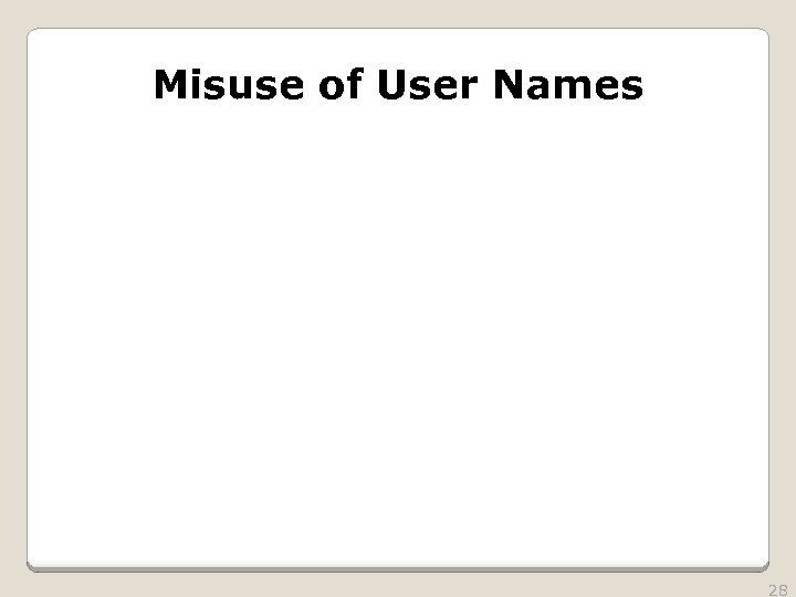 Misuse of User Names 28
