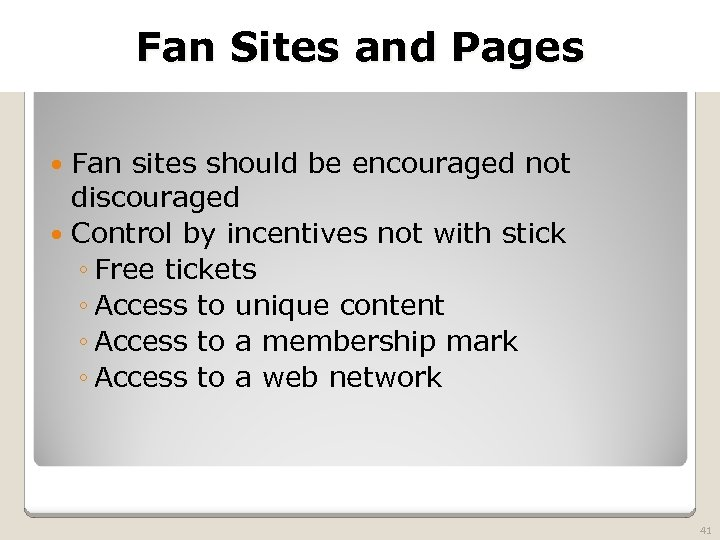 2010 TRADEMARK LAW SEMINAR THE FUTURE OF BRAND PROTECTION Fan Sites and Pages Fan