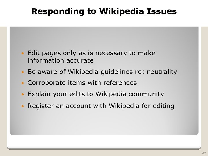 2010 TRADEMARK LAW SEMINAR Responding to Wikipedia Issues THE FUTURE OF BRAND PROTECTION Edit
