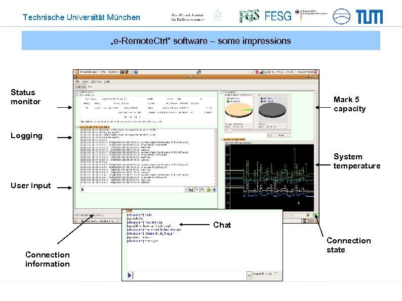 """e-Remote. Ctrl"" software – some impressions Status monitor Mark 5 capacity Logging System temperature"