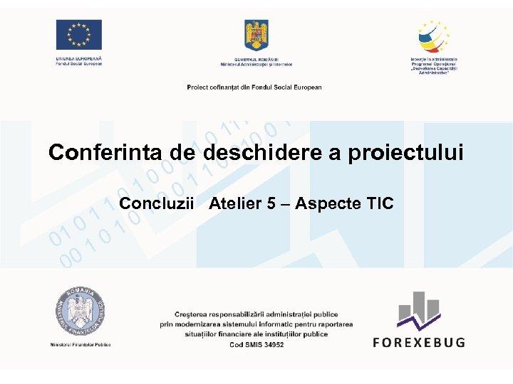 Conferinta de deschidere a proiectului Concluzii Atelier 5 – Aspecte TIC