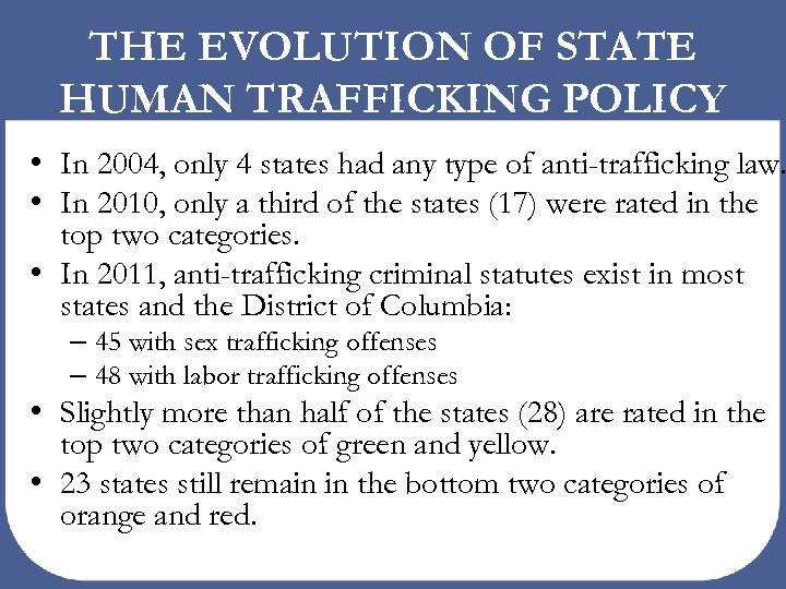 THE EVOLUTION OF STATE HUMAN TRAFFICKING POLICY • In 2004, only 4 states had