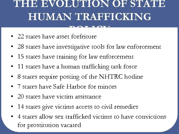 THE EVOLUTION OF STATE HUMAN TRAFFICKING POLICY • 22 states have asset forfeiture •