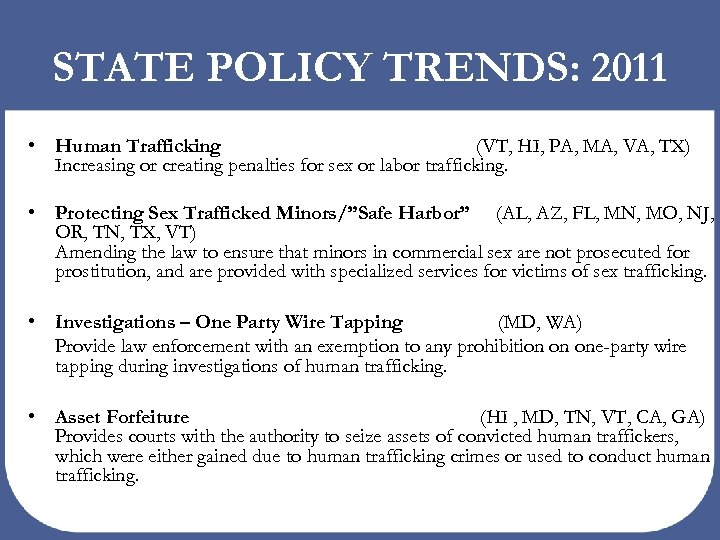 STATE POLICY TRENDS: 2011 • Human Trafficking (VT, HI, PA, MA, VA, TX) Increasing