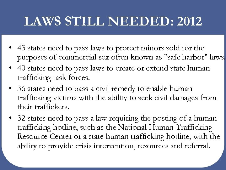 LAWS STILL NEEDED: 2012 • 43 states need to pass laws to protect minors
