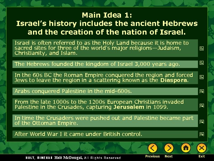 Main Idea 1: Israel's history includes the ancient Hebrews and the creation of the