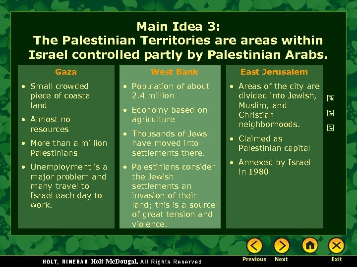 Main Idea 3: The Palestinian Territories areas within Israel controlled partly by Palestinian Arabs.