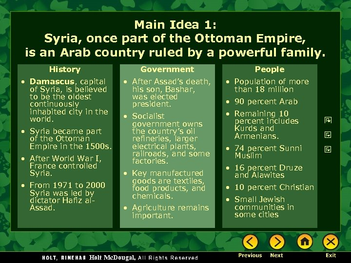 Main Idea 1: Syria, once part of the Ottoman Empire, is an Arab country