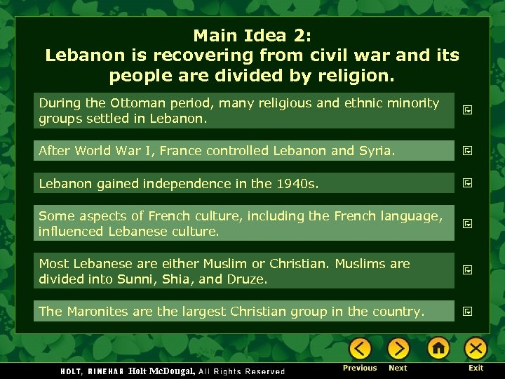 Main Idea 2: Lebanon is recovering from civil war and its people are divided