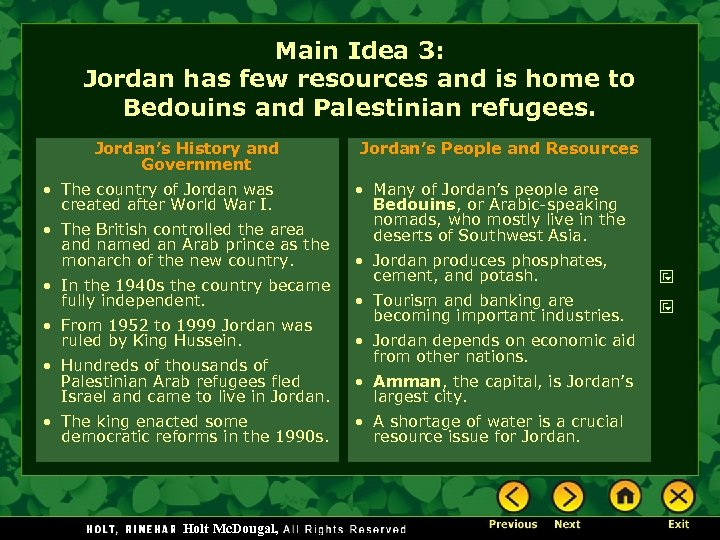 Main Idea 3: Jordan has few resources and is home to Bedouins and Palestinian