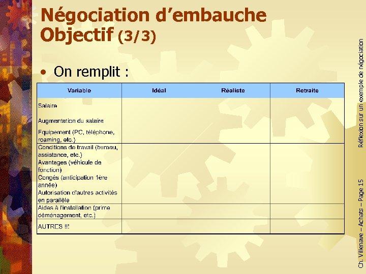 Réflexion sur un exemple de négociation • On remplit : Ch. Villenave – Achats