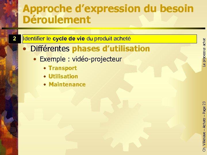 Identifier le cycle de vie du produit acheté cycle de vie • Différentes phases