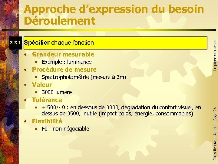 Spécifier chaque fonction Spécifier • Grandeur mesurable • Exemple : luminance • Procédure de