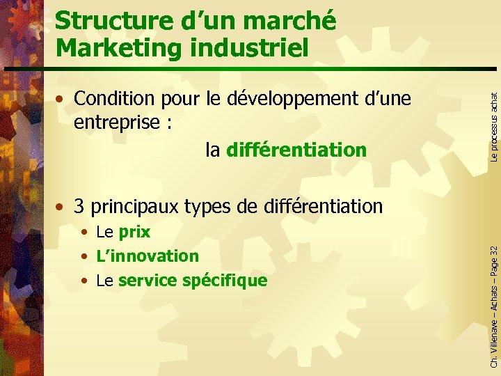 • Condition pour le développement d'une entreprise : la différentiation Le processus achat