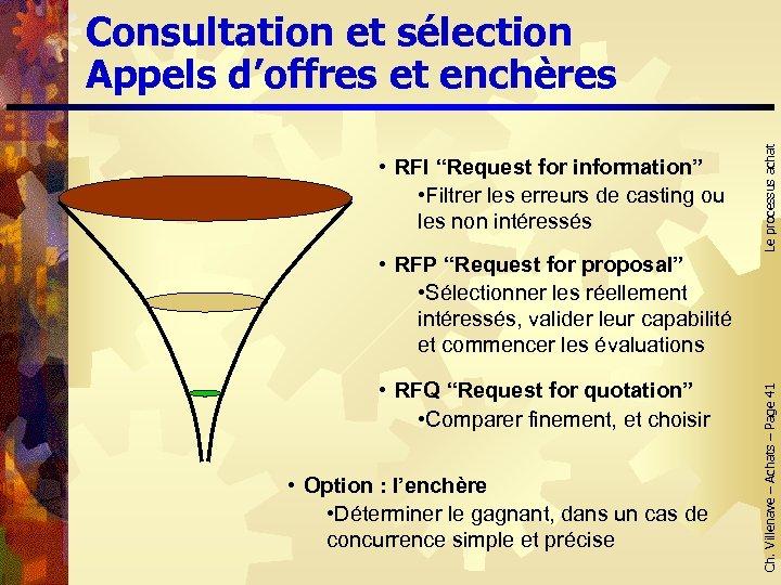 """• RFP """"Request for proposal"""" • Sélectionner les réellement intéressés, valider leur capabilité"""