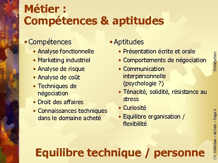 Métier : Compétences & aptitudes Analyse fonctionnelle Marketing industriel Analyse de risque Analyse de