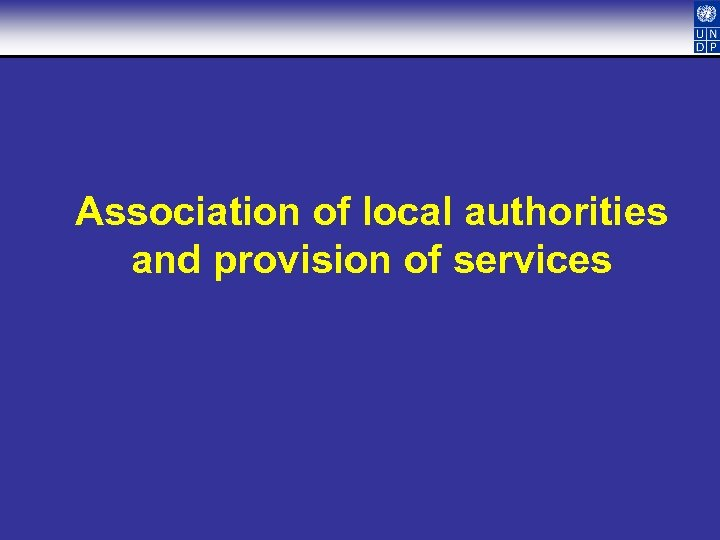 Association of local authorities and provision of services