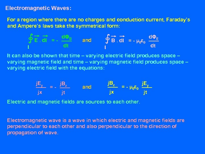 Electromagnetic Waves: For a region where there are no charges and conduction current, Faraday's