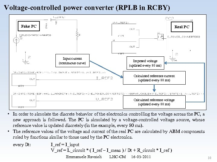 Voltage-controlled power converter (RPLB in RCBY) Fake PC Real PC Input current (continuous curve)