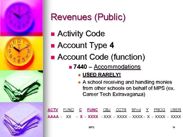 Revenues (Public) Activity Code n Account Type 4 n Account Code (function) n n