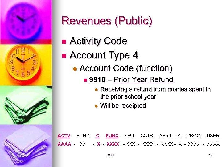Revenues (Public) Activity Code n Account Type 4 n l Account Code (function) n
