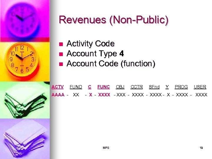 Revenues (Non-Public) n n n Activity Code Account Type 4 Account Code (function) ACTV